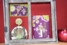 Messbuchhülle vilolett-grün Stickerei