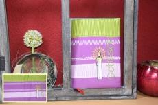 Messbuchhülle violett-grün Stickerei Kerze