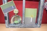 Messbuchhülle grün-braun Stickerei Kerze