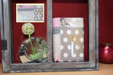 Messbuchhülle baun-rosa Stickerei Kerze