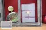 Messbuchhülle grau-lila Stickerei