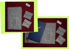 Messbuchhülle Filz Kreuz-Spruch grau