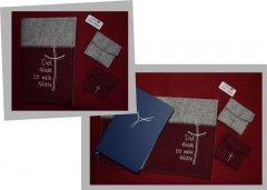 Messbuchhülle Filz Kreuz-Spruch weinrot/grau