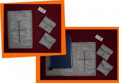 Messbuchhülle PES-Filz Kreuz-Ähre grau