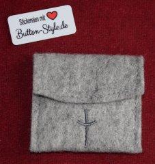 Rosenkranztäschchen Filz Kreuz grau