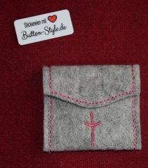 Rosenkranztäschchen Filz Kreuz grau mit Kontrastnaht