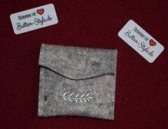 Rosenkranztäschchen PES-Filz Ähre grau