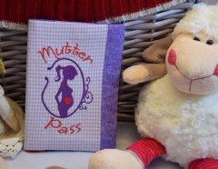 Mutterpasshülle - Wunschanfertigung lila-weiß